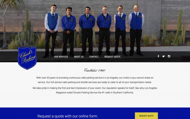 Screenshot of Chuck's Parking website