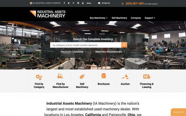 Screenshot of IA Machinery website